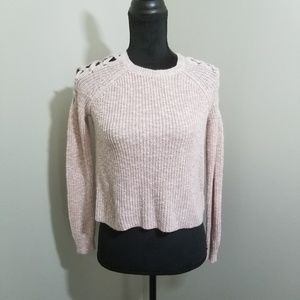 Cloud Chaser Crop Sweater Cross Shoulder SZ S